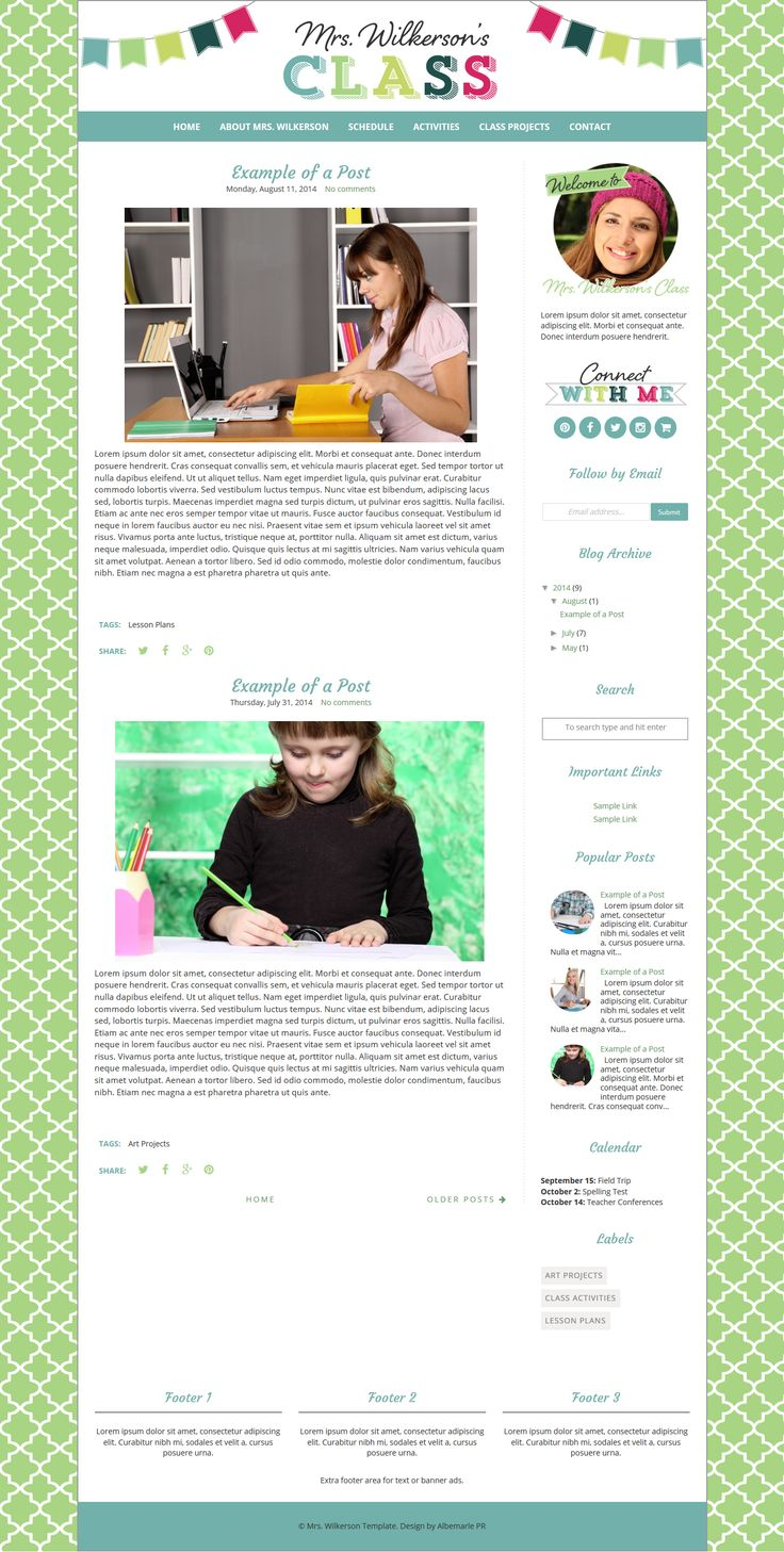 Mrs. Wilkerson Template by Albemarle PR. A teacher blog template with a colorful bunting image.