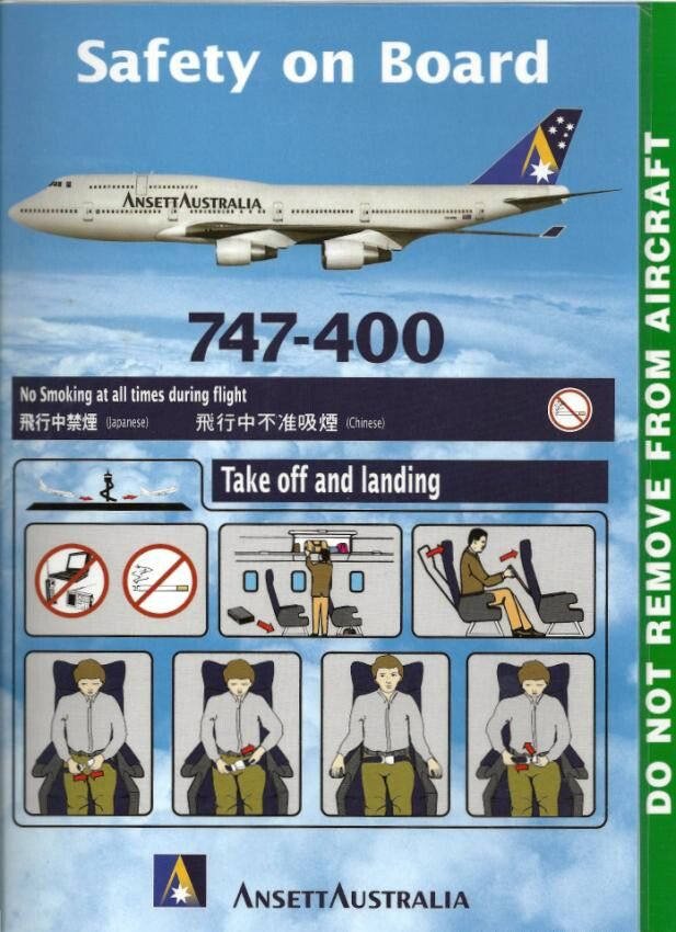 Ansett Australia 747-400 safety card