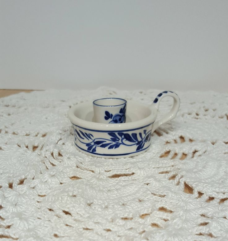 Delft Blue Color Hand Painted Candlestick Holder by E.H. 1989 presented by Donellensvintage by Donellensvintage on Etsy