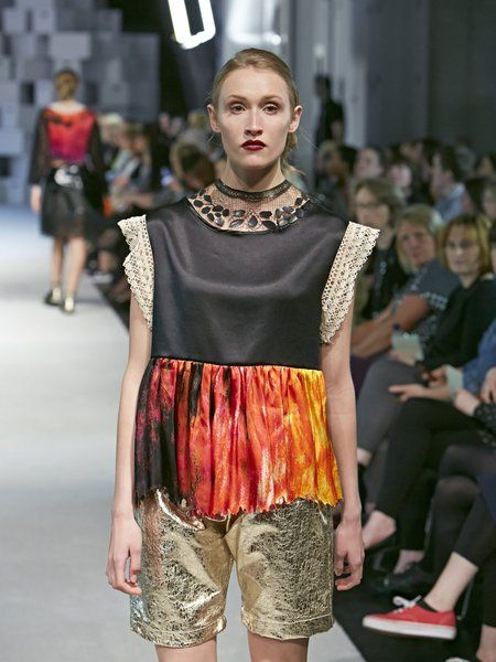 Runway shot from Manchester Degree show, Laser cut lace, hand made lace, digital print