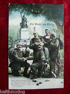 "Patriotic German WW1 Military Postcard Feldpost""Die Wacht Am Rhein"" Inf Regt 105 | eBay"