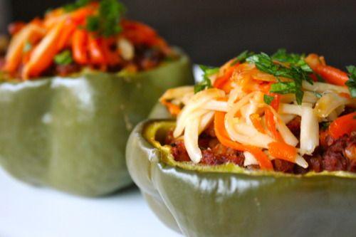 Soyrizo stuffed bell peppers.