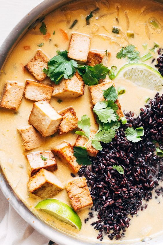 ginger + lemongrass infused thai soup with crispy tofu and wild rice — sobremesa   dairy free vegetarian recipes best shared