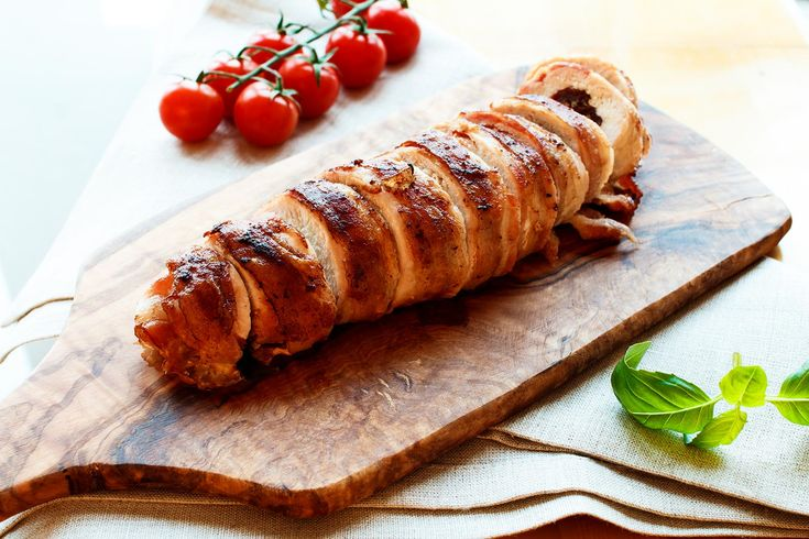 Chicken roulade with basil, sun dried tomatos and bacon.