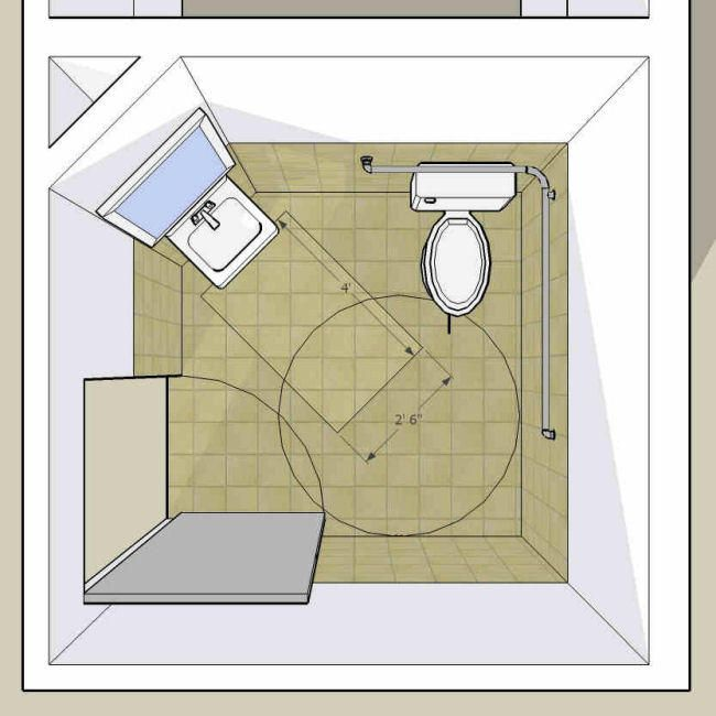Single Accommodation Toilet And Door Swing Into Lav Clear