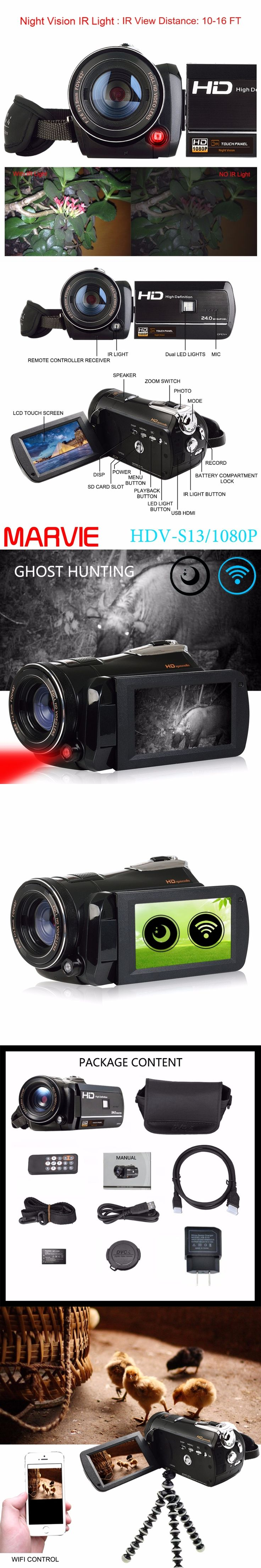Marvie LED Fill Lights Portable 24 0 MP 3 0 Screen DV Camera FHD Camcorder Digital Video Recorder