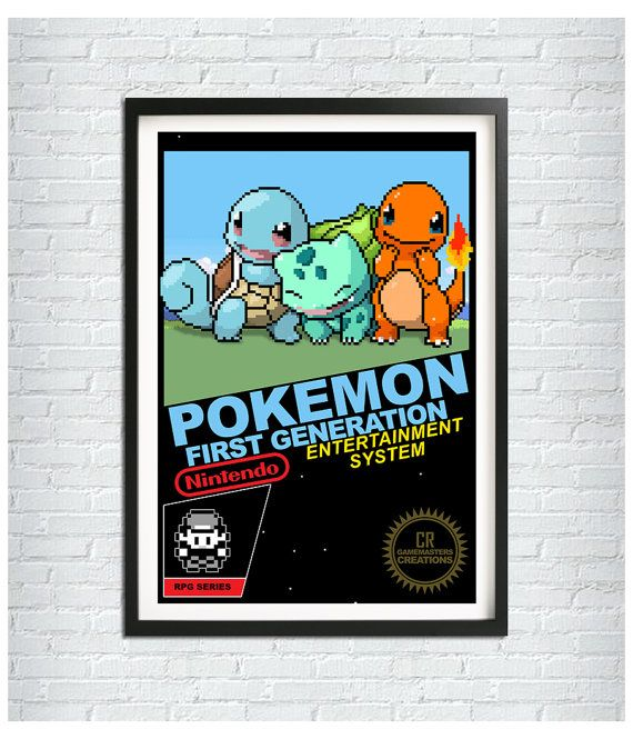 Pokemon NES Cover Poster Pixel Art Print Video by CRGameMasters