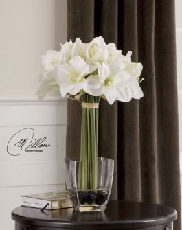 LOVE the white amaryllis!!  not as the only flower but as part of a mix...?