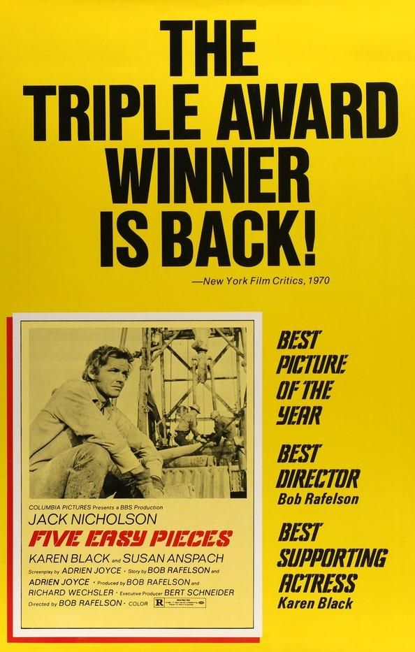 Five Easy Pieces 1970 Jack Nicholson Movie Posters Columbia