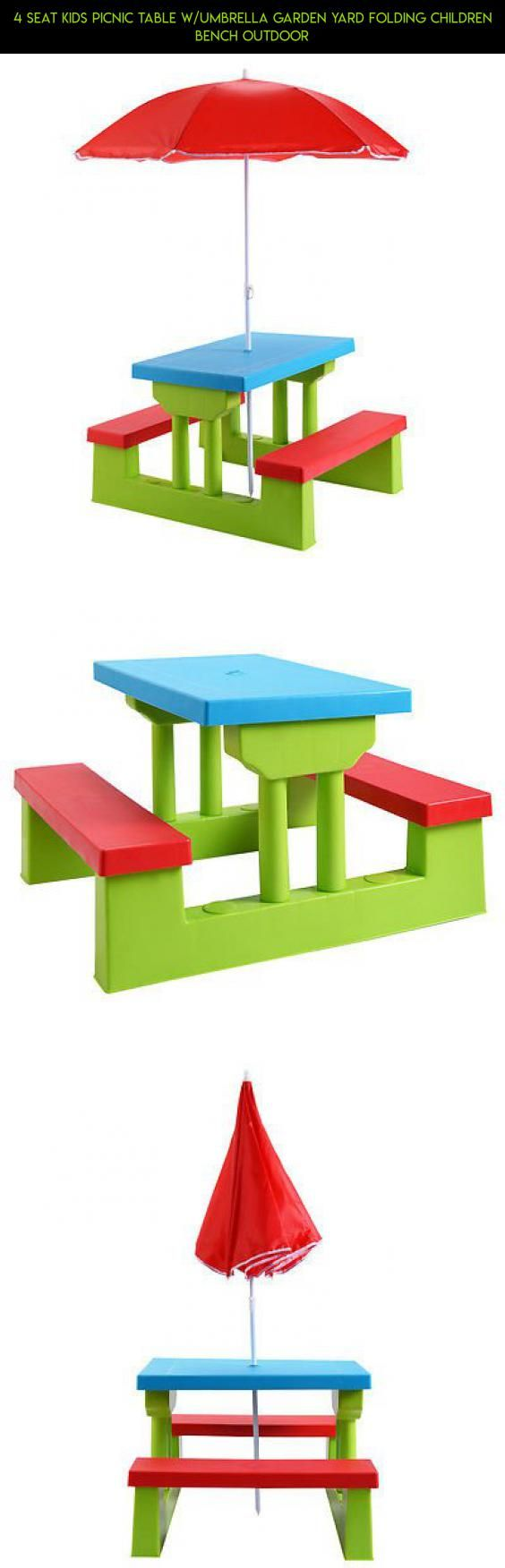 Small patio table with umbrella hole 45 quot picnic table - 4 Seat Kids Picnic Table W Umbrella Garden Yard Folding Children Bench Outdoor Furniture