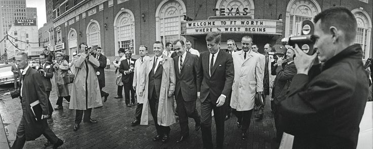 John F. Kennedy and LBJ leaving their hotel in Ft. Worth November 22 1963. Later this day Kennedy will be assassinated. [2048 x 819]