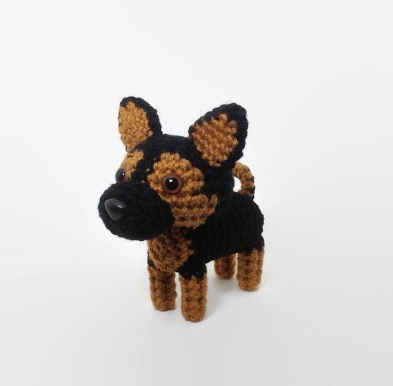 German Shepherd Stuffed Animal Crochet Dog Amigurumi Toy / Made to Order