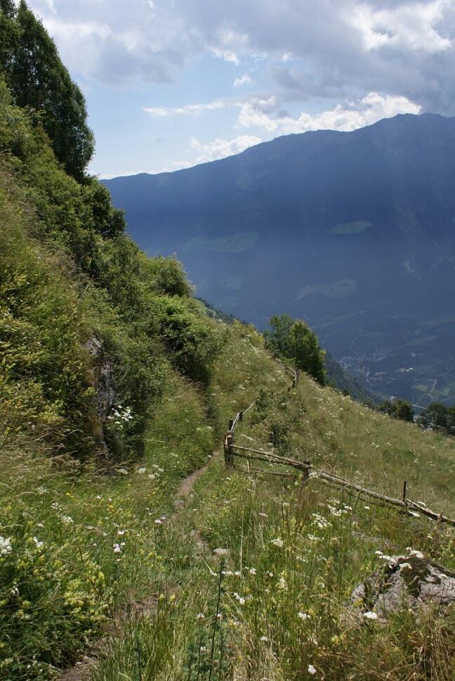 """Sonnenberg, Monte Sole. Wandelpad 10, onderweg naar """"Dickhof"""", Katharinaberg."""