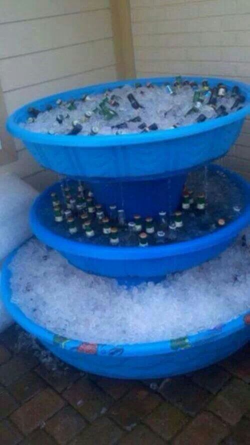 2 small & 1 large kiddie pools, drill holes around outside edge of bottom & stack on top of utility buckets. Cold water melting from ice will drain into the pool below & keep plenty of drinks cold even after the party's over