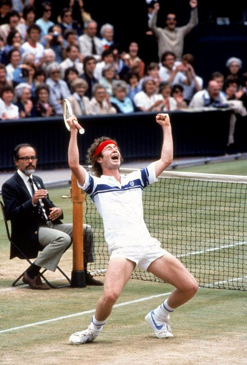 Wimbledon, July 4, 1981 The always emotional John McEnroe reacts after beating rival Bjorn Borg for the Wimbledon title. He would win the tournament again in 1983 and 1984.