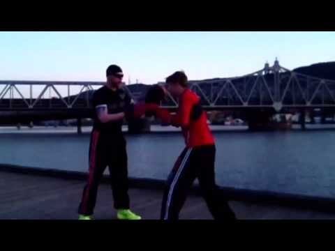 Coach Roger Boxing Mittology padwork with amateur boxer Marius Lilleås H...