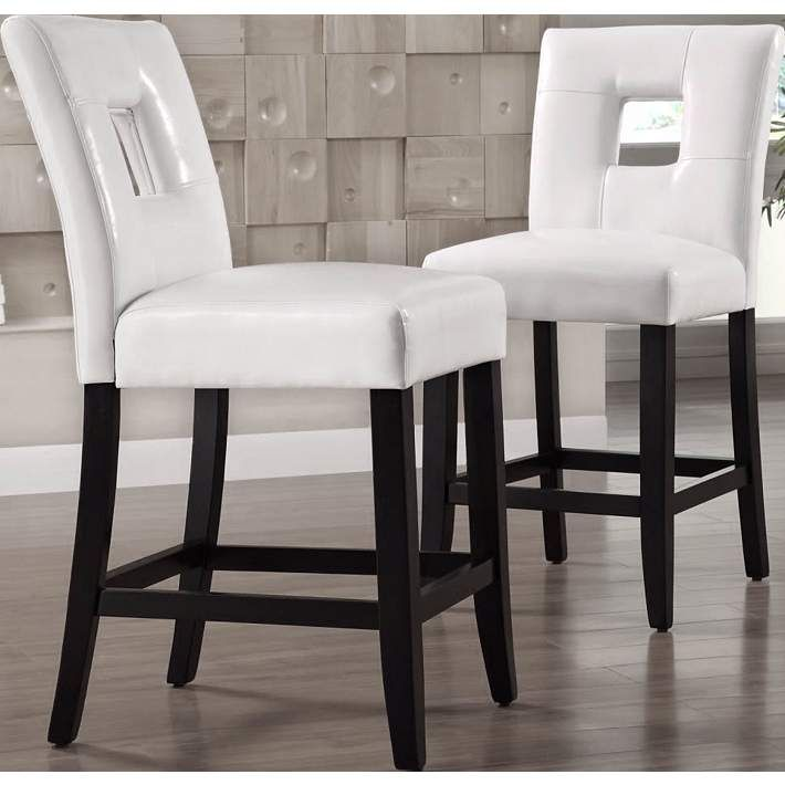 HomeBelle 24 White Keyhole Counter Stools Set Of 2