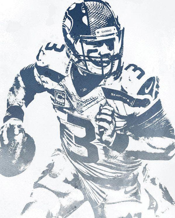 Russell Wilson Seattle Seahawks Water Color Pixel Art 30 Art Print By Joe Hamilton In 2020 Seahawks Pixel Art Seattle Seahawks