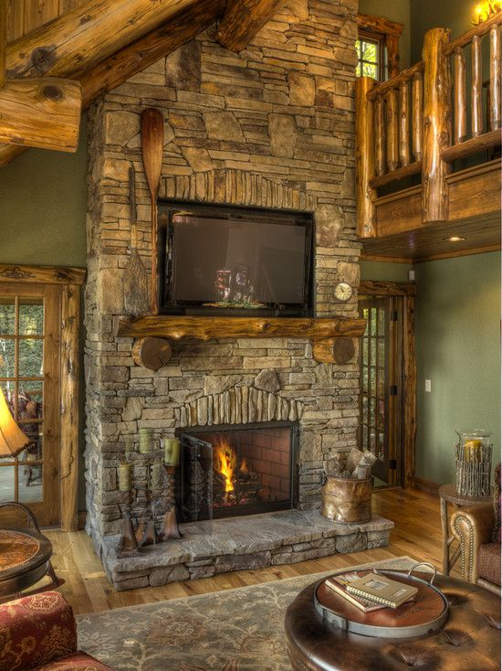 Traditional family room cabin design pictures remodel for Lodge style fireplace ideas