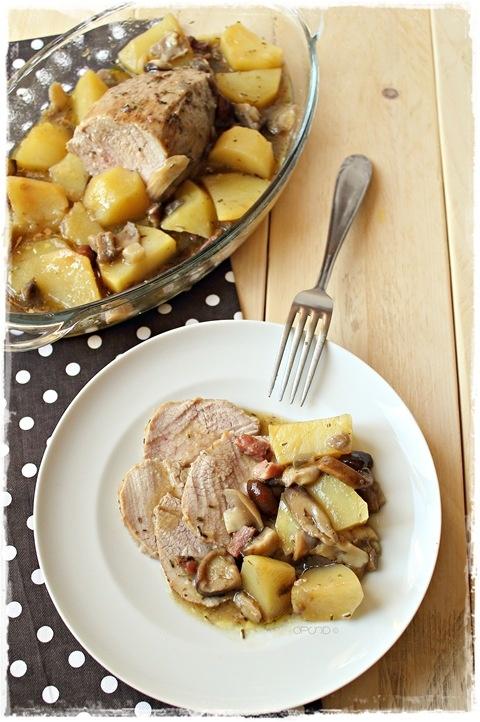Arrosto con funghi e patate - Roast in Saccoccio with mushrooms, bacon and potatoes