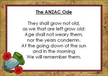 On ANZAC Day a special Ode is read out. This resource provides the Ode written in its entirety on the first page and then an activity where students are required to cut out the words, one line at a time before re-piecing it back together in the correct order.