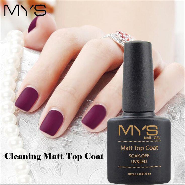 MYS 10ml Matt Matte Top Coat Nail Gel Polish Nail Art Tips Dull Finish Top Coat Gel Long Lasting Gel Lacquer Matt Top Gel