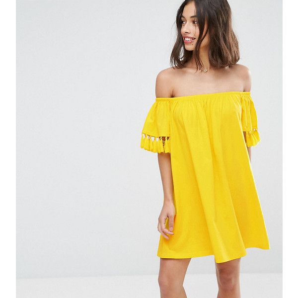 ASOS PETITE Off Shoulder Sundress with Tassel Detail (18 AUD) ❤ liked on Polyvore featuring dresses, petite, yellow, off the shoulder sundress, yellow dress, petite sundresses, short mini dress and petite dresses