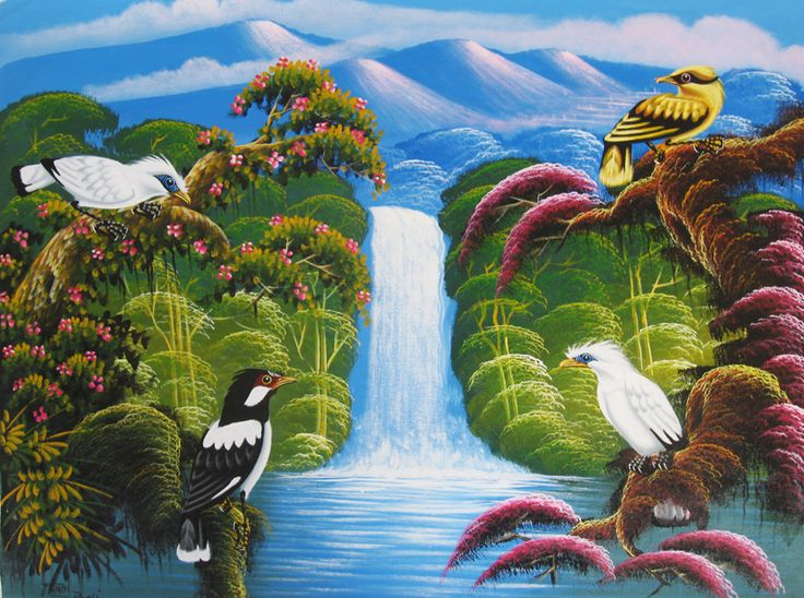 Pusat Jual Lukisan Termurah Lukisan Burung Jalak Bali Lukisan Jalak Burung