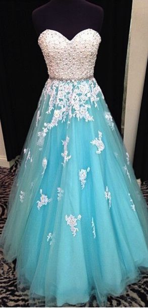 Blue prom dress, sweet heart prom dress