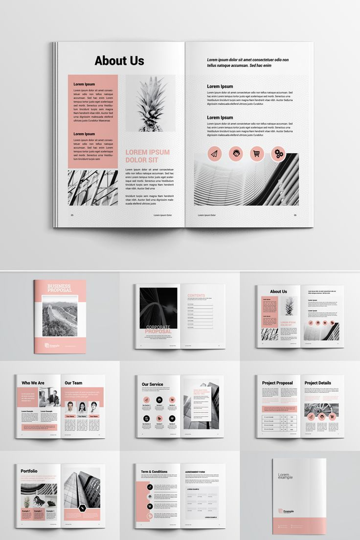Modelo de identidade corporativa para proposta de projeto, #Proposal #Project #Corporate …   – Magazine Layout
