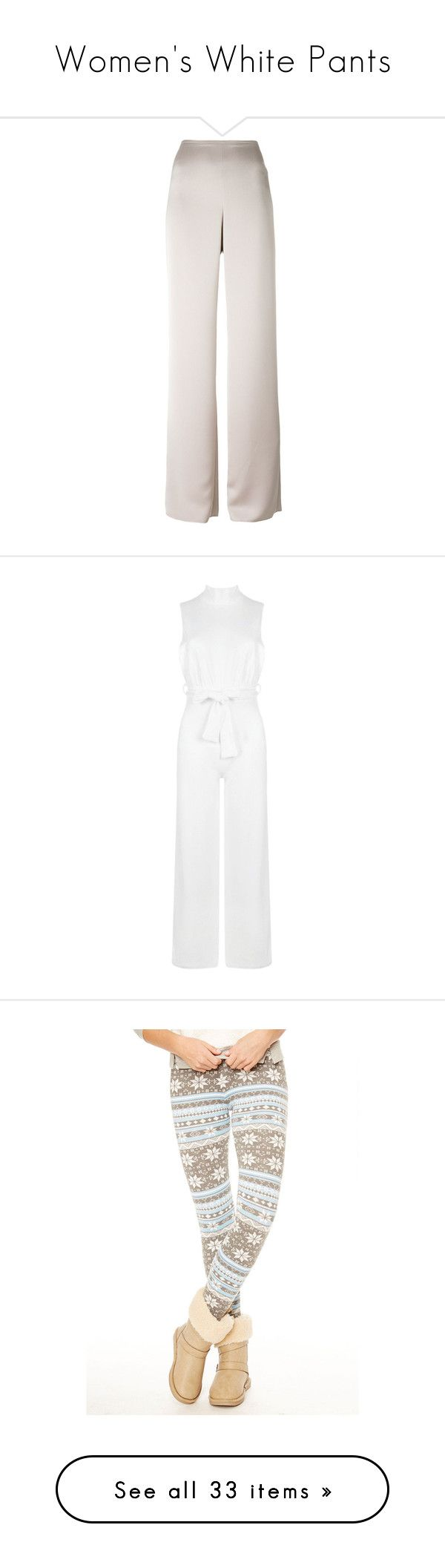 """""""Women's White Pants"""" by eternalfeatherfilm on Polyvore featuring pants, bottoms, nude, armani collezioni, pink wide leg trousers, crepe pants, pink trousers, wide leg trousers, jumpsuits and wide leg jumpsuit"""