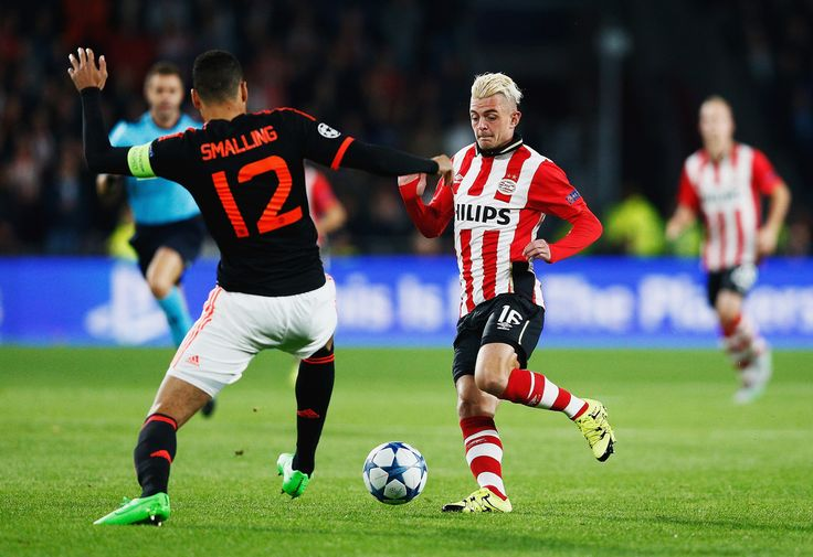 Maxime Lestienne of PSV Eindhoven takes on Chris Smalling of Manchester United during the UEFA Champions League Group B match between PSV Eindhoven and Manchester United at PSV Stadion on September 15, 2015 in Eindhoven, Netherlands. (Sept. 14, 2015 - Source: Dean Mouhtaropoulos/Getty Images Europe)