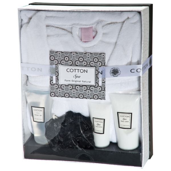 Bath set with bathrobe  Wellness gift set with a delicately perfumed shower gel, body lotion, hand cream, a shower sponge and a luxurious soft white bathrobe. Presented in a beautiful gift box with a ribbon.   Product size 29 x 35.5 x 11.5 Branding size 4 x 1.8
