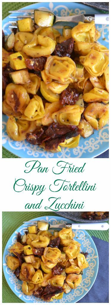 Pan Fried Crispy Tortellini and Zucchini combines tortellini, zucchini, yellow squash and sun dried tomatoes seared in a light honey mustard vinaigrette.