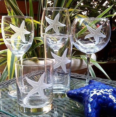 Starfish Garden Etched Glassware in five different shapes. Sets of four glasses.