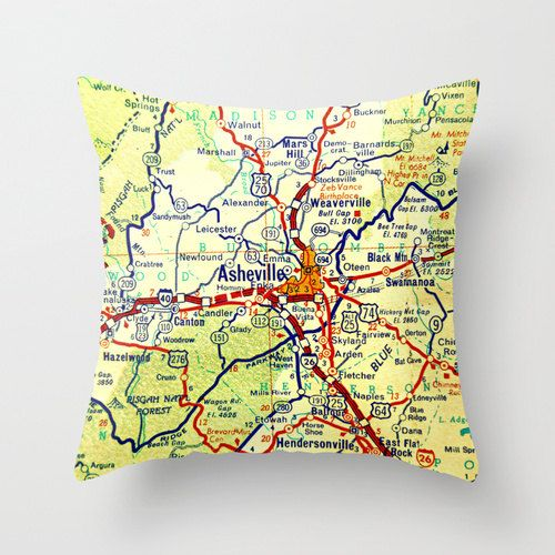#ASHEVILLE North Carolina Map Pillow  Asheville NC  WNC by VintageBeachMaps