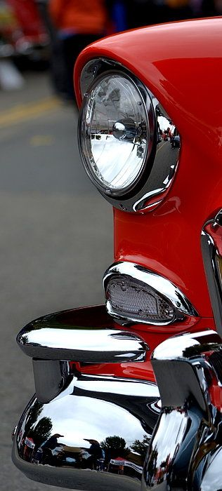 Red 55 Chevy Headlight Poster By Dean Ferreira