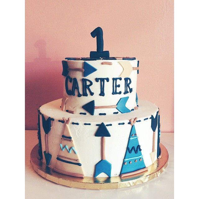 Arrow and teepee 1st birthday cake by 2tarts Bakery. www.2tarts.com