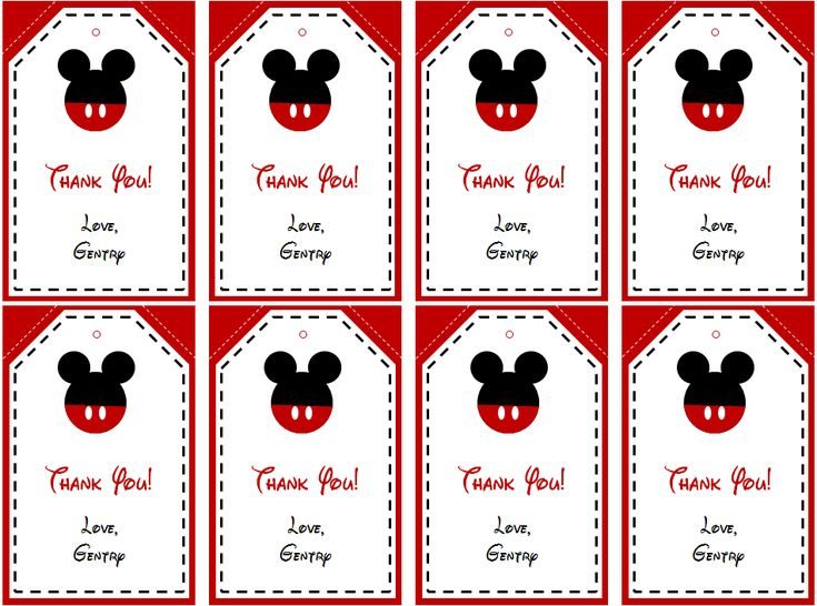 Mickey Mouse Thank You Tags Printable Free