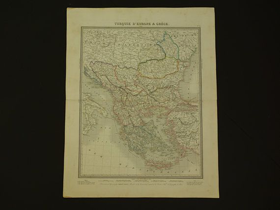 BALKANS vintage map 1858 large original old by VintageOldMaps