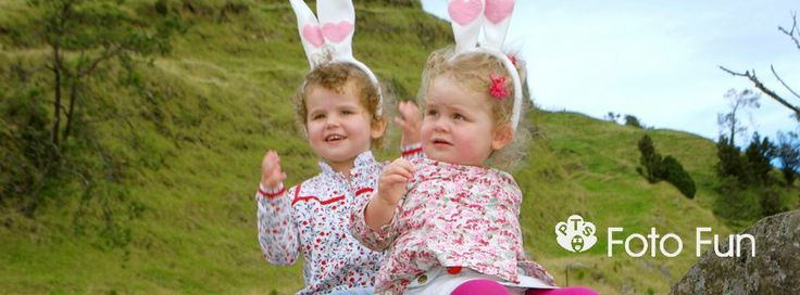 Little girls with pink bunny rabbit ears in the Kaimais, NZ