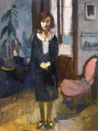 Berény Róbert (1887-1953)  Berény Anna / Kislány enteriőrben  Olaj, vászon, 82x62,5 cm