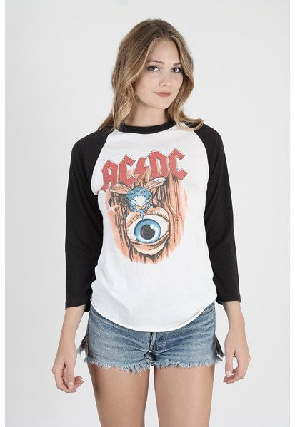 Vintage ACDC T Shirt ACDC Concert t shirt Acdc band t shirt 3/4 sleeve