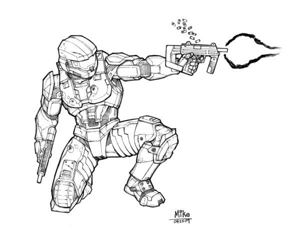 Master Chief Drawing Step By Step Holding Energy Sword: Master Chief - Halo - Mike Dimayuga
