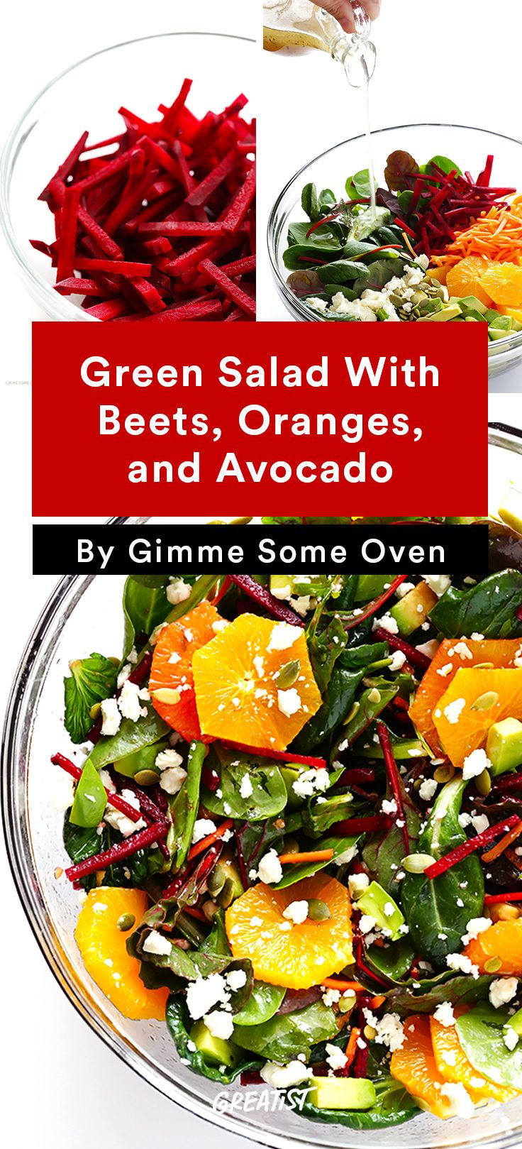 Green Salad With Beets, Oranges, and Avocado