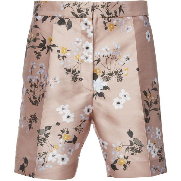 Rochas Bagatelle Military Shorts ($690) ❤ liked on Polyvore featuring shorts, pink, patterned shorts, print shorts, rochas shorts, floral pattern shorts and pink shorts