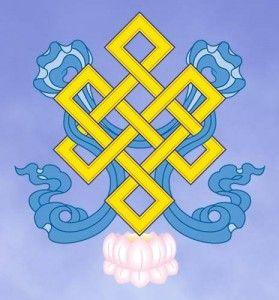 O Nó Infinito: O nó infinito, com suas linhas fluídas e entrelaçados em um padrão fechado, representa a origem dependente e a inter-relação de todos os fenômenos. Significa também causa e efeito da união de compaixão e sabedoria.