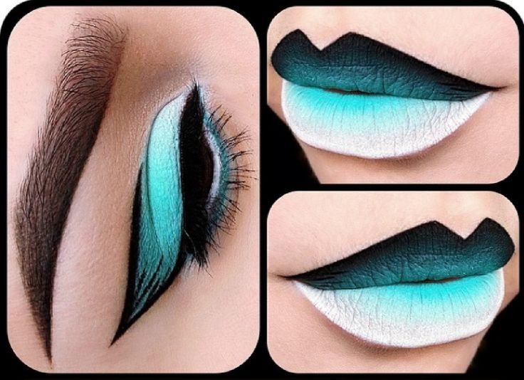 Cool green and black lipstick design by @depechegurl! More: http://blog.furlesscosmetics.com/depeche-gurl/
