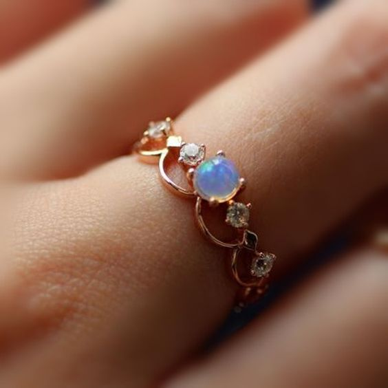 Fancy Rose Gold Plated Art Deco Opal Promise Ring [100695] – $74.00 : jewelsin.com