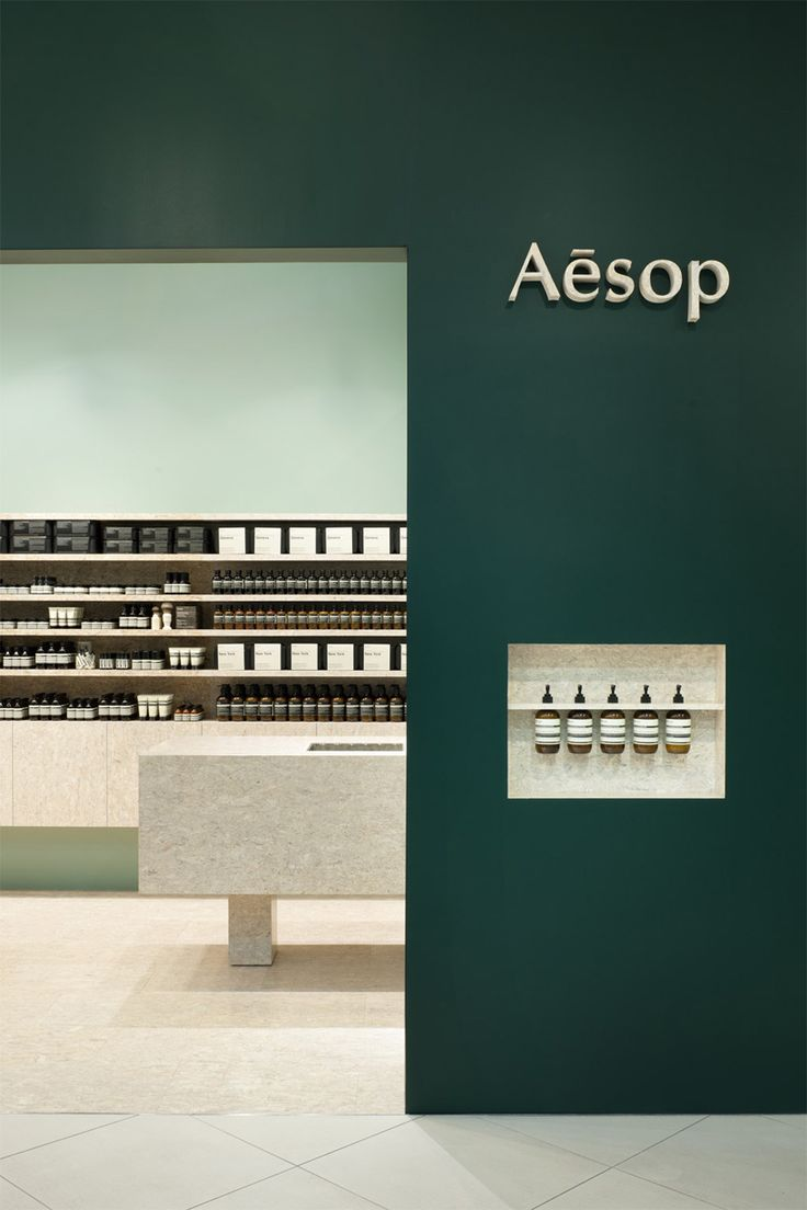 Aesop yokohama bay by torafu architects. Natural stone and green (the green varies from store to store but is always the highlight colour)